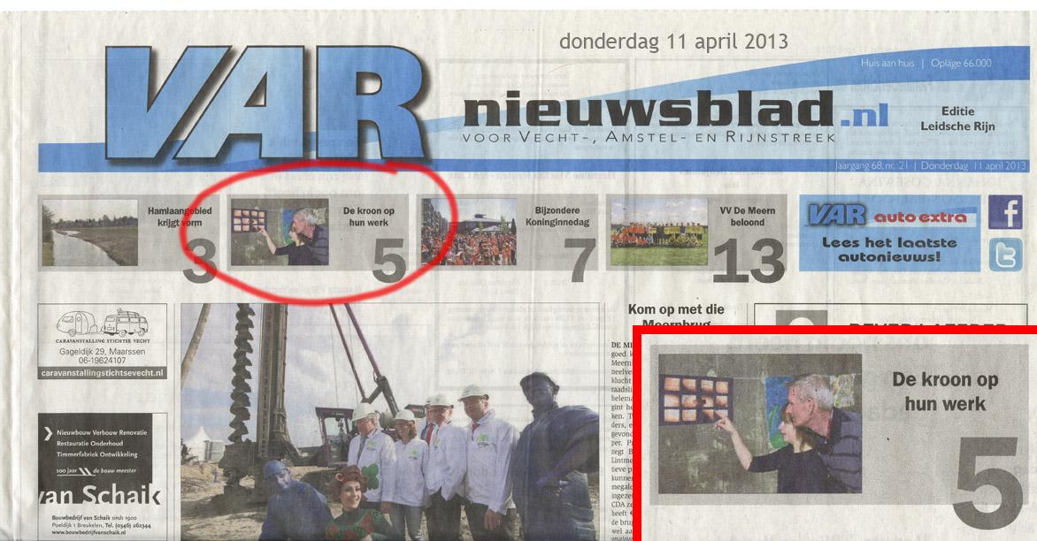 VAR – 11 april 2013 – voorpagina