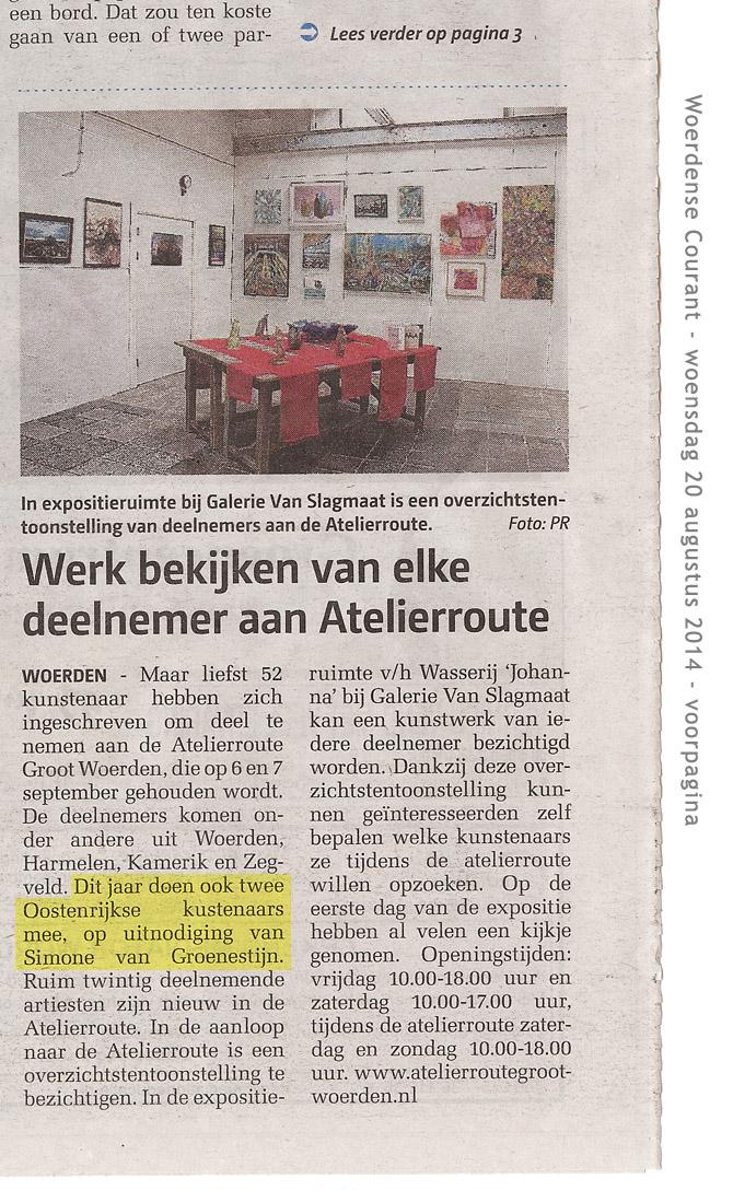 Woerdense Courant – 20 augustus 2014 – voorpagina