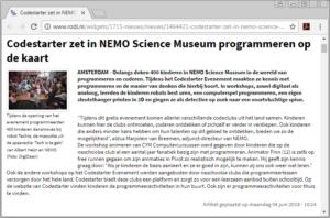 Codestarter zet in NEMO Science Museum programmeren op de kaart